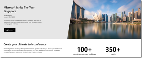 Microsoft Ignite The Tour Singapore 2020.